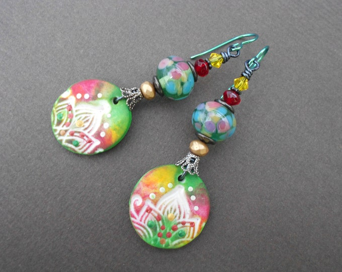 Boho earrings,Multicolour earrings,Hippie earrings,Oriental earrings,Lampwork earrings,Polymer clay earrings,OOAK earrings,Niobium earrings