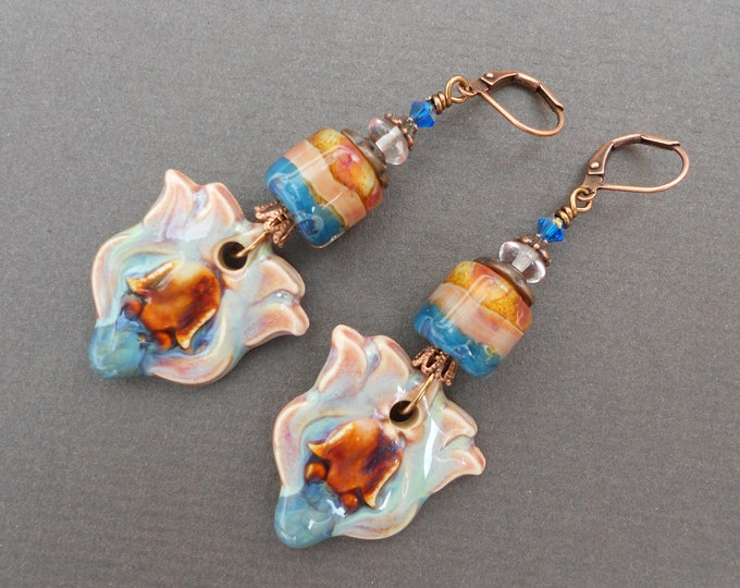 Boho earrings,Flower earrings,Lotus flower earrings,Lampwork earrings,Ceramic earrings,OOAK earrings,Multicolour earrings,Glass earrings