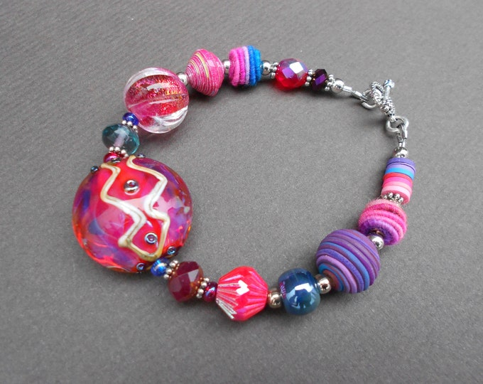 Boho bracelet,Statement bracelet,OOAK bracelet,Lampwork bracelet,Fabric bracelet,Chunky bracelet,Clay bracelet,Abstract bracelet,Glass beads