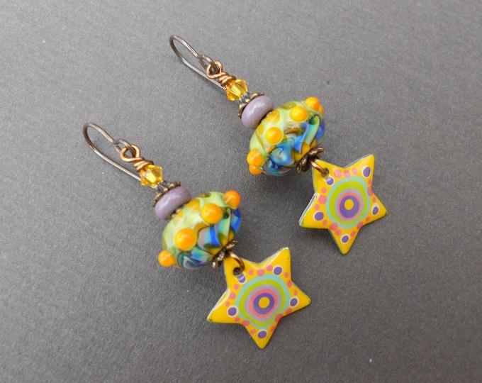 Boho earrings,OOAK earrings,Resin earrings,Lampwork earrings,Glass earrings,Star earrings,Celestial earrings,Artisan earrings,Multicolour