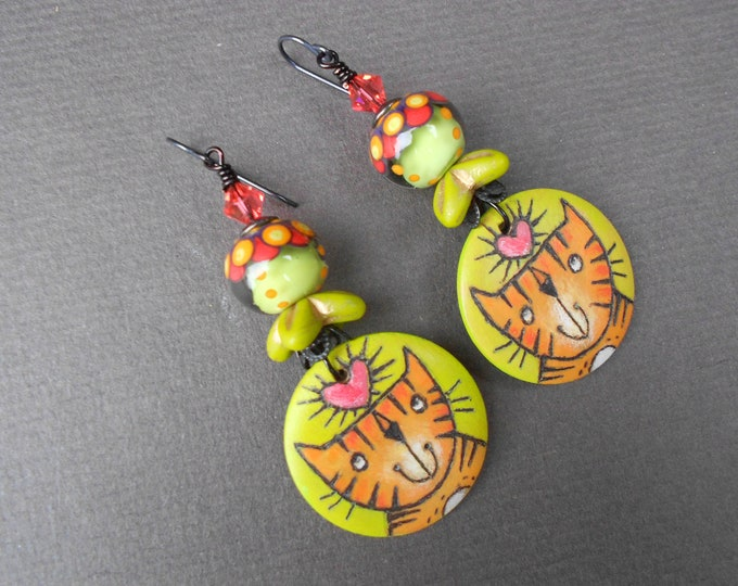 Boho earrings,Cat earrings,Wooden earrings,Lampwork earrings,Cat lovers earrings,OOAK earrings,Niobium earrings,Artisan earrings,Multicolour