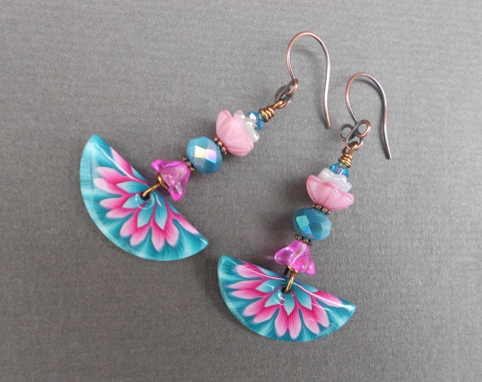 Flower earrings,Glass earrings,Floral earrings,Polymer Clay earrings,Clay earrings,Summer earrings,OOAK earrings,Fan earrings,Artisan,Boho