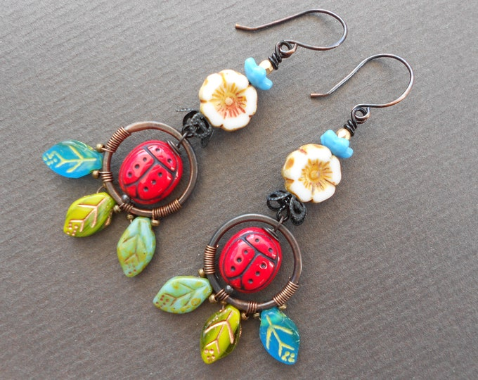 Flower earrings,Ladybird earrings,Summer earrings,Ladybug earrings,Hoop earrings,Wire wrapped earrings,OOAK earrings,Glass earrings,Copper