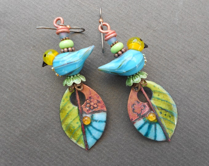 Summer earrings,Bird earrings,Leaf earrings,Enamelled copper earrings,Lampwork earrings,Niobium earrings,Enamel earrings,OOAK earrings,