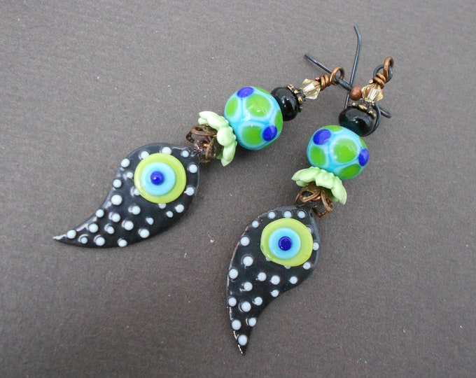 Boho earrings,Polka dot earrings,Abstract earrings,Enamel earrings,Lampwork earrings,Artisan earrings,Leaf earrings,OOAK earrings,Niobium