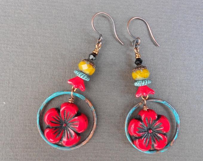 Flower earrings,Hoop earrings,Summer earrings,Boho earrings,Glass earrings,OOAK earrings,Copper earrings,Floral earrings,Artisan hoops,Red