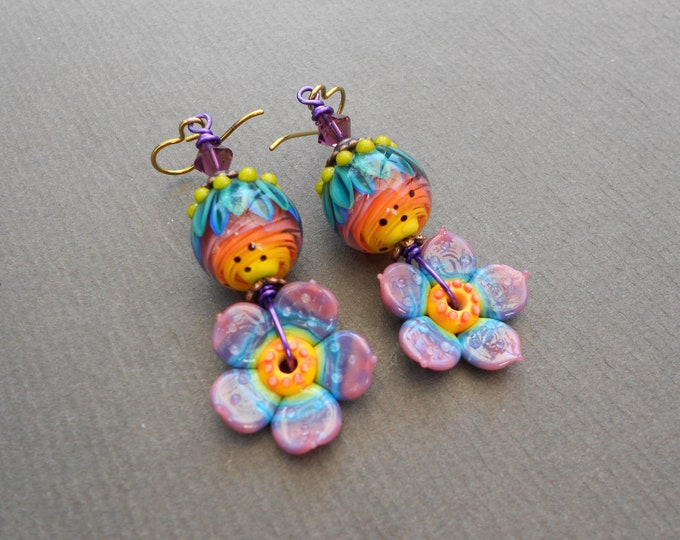 Flower earrings,Summer earrings,Floral earrings,Lampwork earrings,Hippie earrings,Niobium earrings,OOAK earrings,Boho earrings,Multicolour
