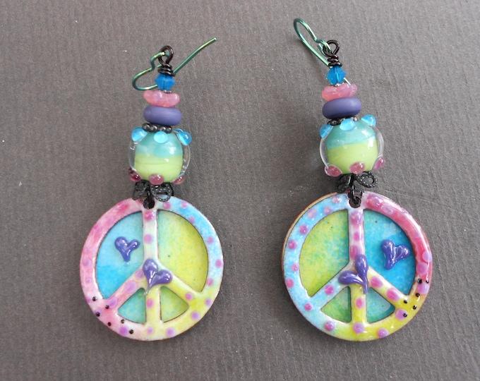 Peace sign earrings,Enamelled copper earrings,Lampwork earrings,Hippie earrings,Enamel earrings,Niobium earrings,OOAK earrings,Copper,Glass