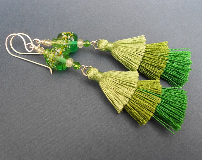 Green earrings,Ombre earrings,Tassel earrings,Boho earrings,Multicolour earrings,Fabric earrings,Lampwork glass earrings,Silver earrings