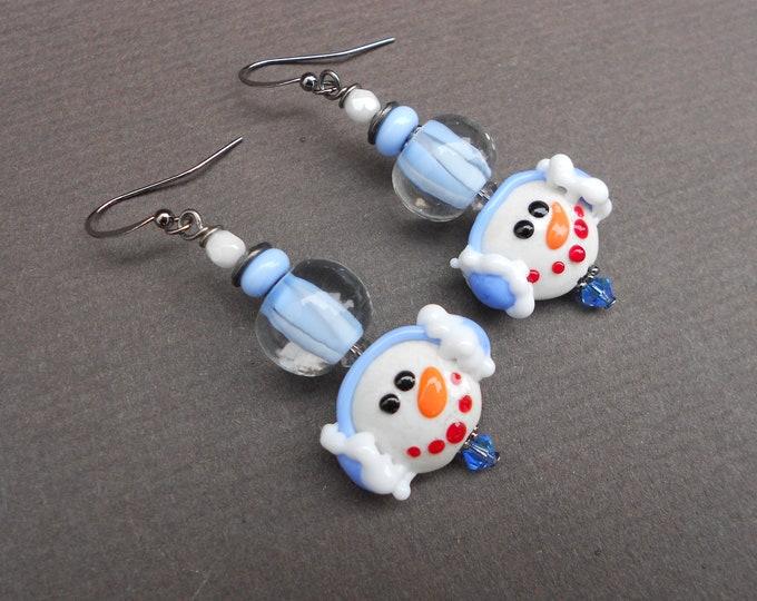 Snowman earrings,Winter earrings,Glass earrings,Lampwork earrings,OOAK earrings,Artisan earrings,Dangle earrings,Christams earrings