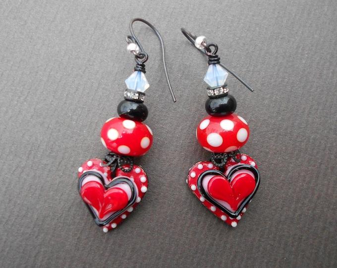 Heart earrings,Polka dot earrings,Romantic earrings,Valentines day earrings,Gift for her,Lampwork earrings,Enamel earrings,OOAK earrings,