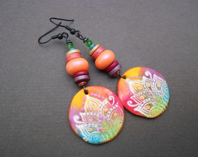Boho earrings,Mandala earrings,Artisan Lampwork earrings,Multicolour earrings,Oriental earrings,Polymer clay earrings,Ooak ,Ceramic earrings
