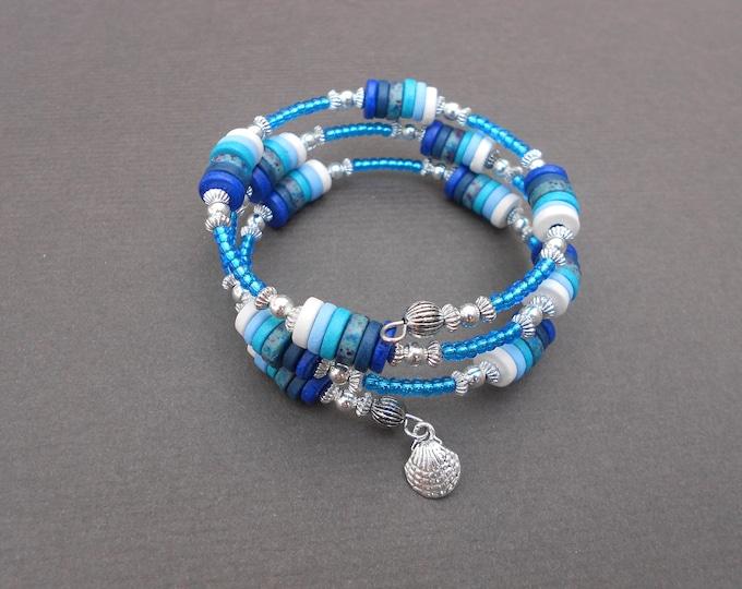 Memory bracelet,Ombre bracelet,Wrap bracelet,Ceramic bracelet,Charm bracelet,Boho bracelet,Blue bracelet,Multiwrap bracelet,Sea bracelet