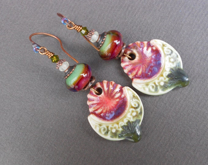 Boho earrings,Ceramic earrings,Porcelain earrings,Lampworkearrings,Boro glass earrings,OOAK earrings,Dangle earrings,Floral earrings,Artisan