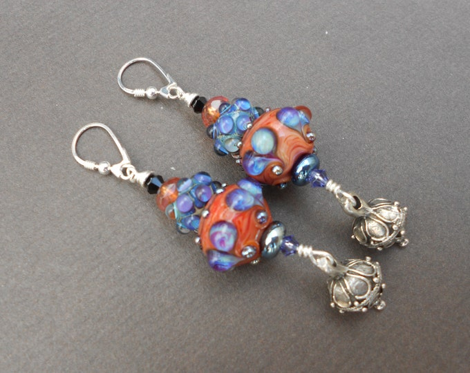 Heart earrings,Lampwork glass earrings,Boho earrings,Multicolour earrings,OOAK earrings,Silver earrings,Orange earrings,Purple earrings