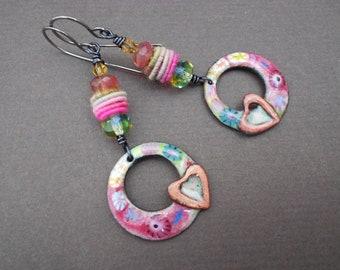 Multicolour earrings,Boho earrings,Fabric earrings,Textile earrings,Enamel earrings,OOAK earrings,Heart earrings,Glass earrings