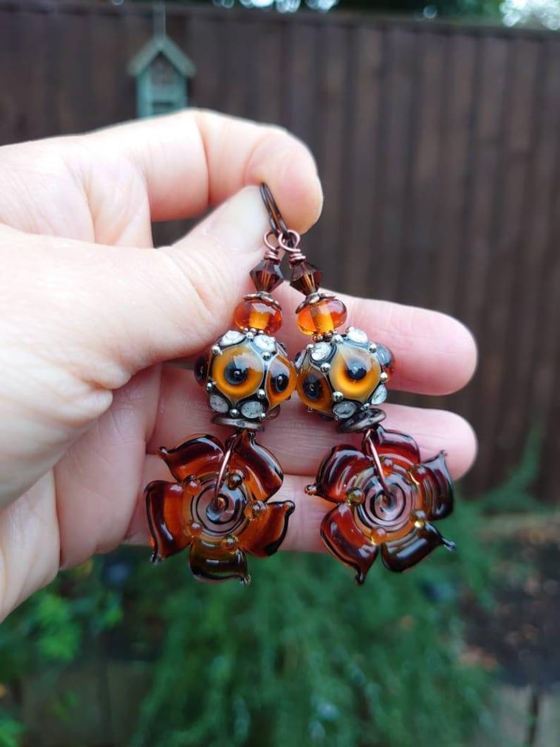 Flower earrings,Lampwork earrings,Glass earrings,Floral earrings,Niobium earrings,Artisan earrings,OOAK earrings,Ombre earrings,Boho,Copper