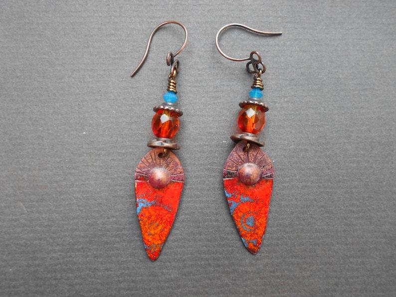 Tribal earrings,Ethnic earrings,Enamelled earrings,Glass earrings,Ombre earrings,Enamel earrings,Copper earrings,OOAK earrings,Boho earrings