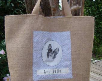 TOTE bag in Burlap pattern dog's head
