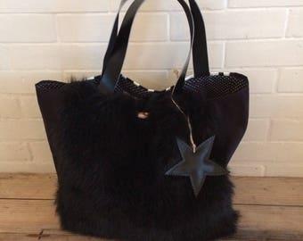 BAGHEERA black and Zebra fur bag