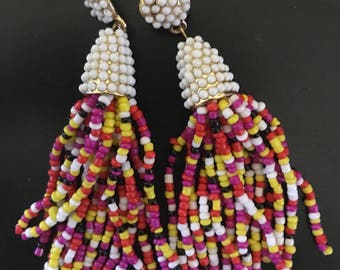 Multicolored Beaded Tassel Earrings