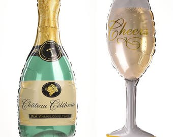Huge Champagne Bottle and Glass Balloons (Set of Two)