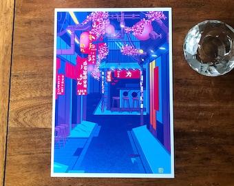 A4 Shinjuku Street Alley Illustration Print. Tokyo|Japan|Digital Art