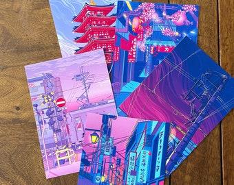 A6 Japanese themed Illustrative print |Japan|Tokyo|Postcard|Shinjuku|Shibuya