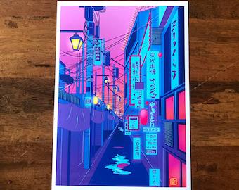 Shibuya Street Illustrative Print. Tokyo|Japan|Digital|A4|A3