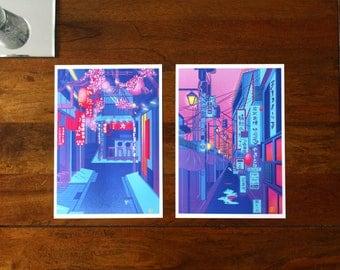 Tokyo/Japan A4 Print Set of 2. Shinjuku|Shibuya|Street|Neon