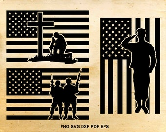 Fallen soldier svg file, American flag, 4th of july clipart, Patriotic svg, Iron on designs, Military svg, Files for Cricut and Silhouette