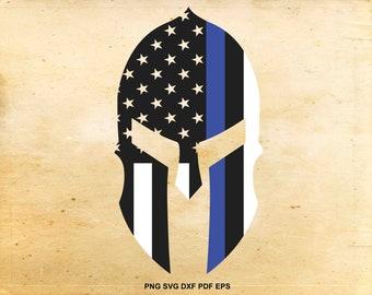Police spartan helmet svg, Thin blue line flag, American flag svg, Police flag design, Cut files for Cricut, Svg files for Silhouette