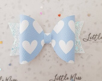 Pastel Hearts Leathrette Bow
