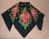 Accessories Scarves Shawls flowers black russian soviet ussr scarf wool cloth pink boho ethnic vintage USSR fringe bohemian folk floral gift
