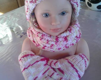 Hat, snood and mittens set