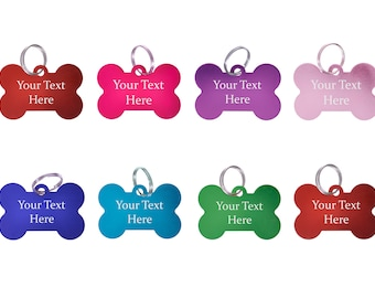 295e3d64b2c4 Personalised Metal Engraved Plain Coloured Bone Shaped Dog Tags - Pet ID  Name Tag Collar Charms - Custom Engraved on Front and Back