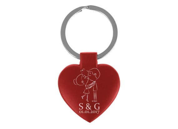 c61a048479 Personalised Engraved Red Heart Kissing Couple Keyring | Etsy