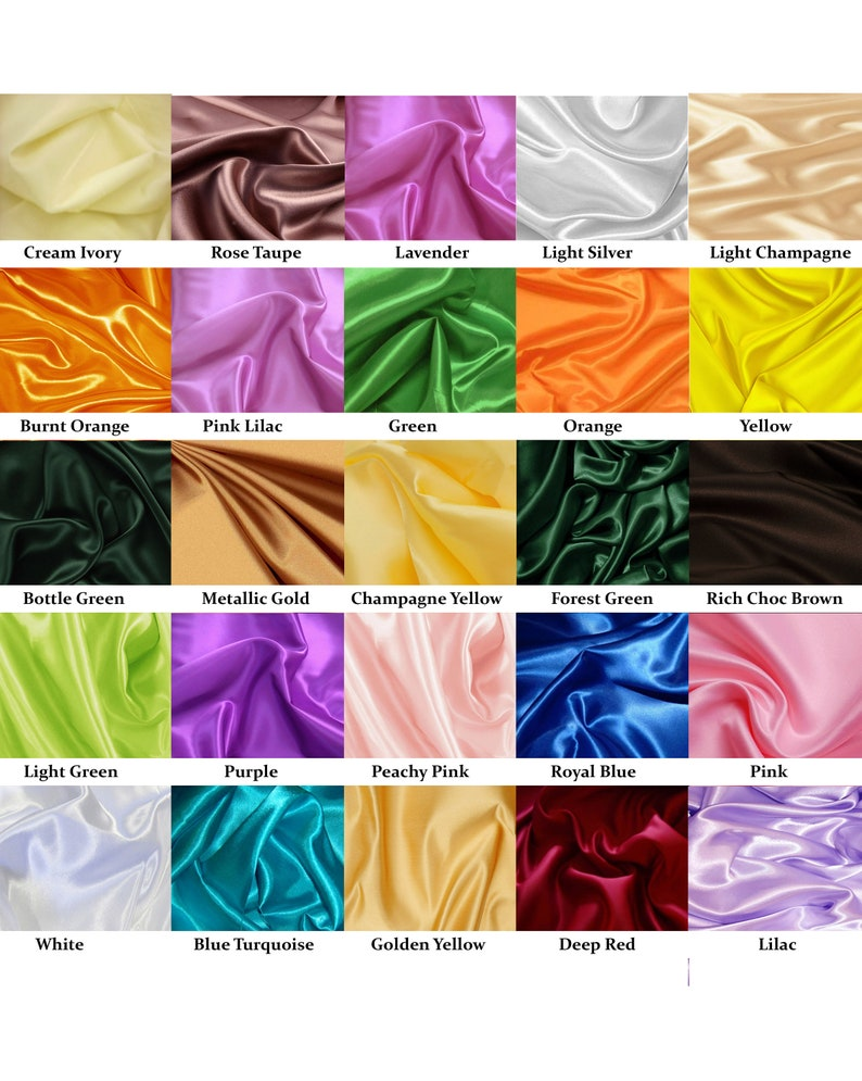 Beautiful Silky Satin Dressmaking Fabric in 22 colours