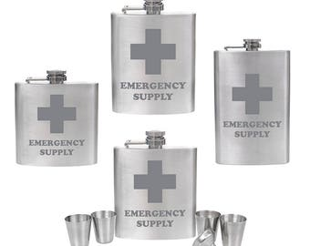 Engraved 6oz, 7oz, 8oz, 10oz Silver Hip Flask or 6oz or 8oz Hip Flask Set- Funny 'Emergency Supply' - Fathers Day Present Gift for Dad