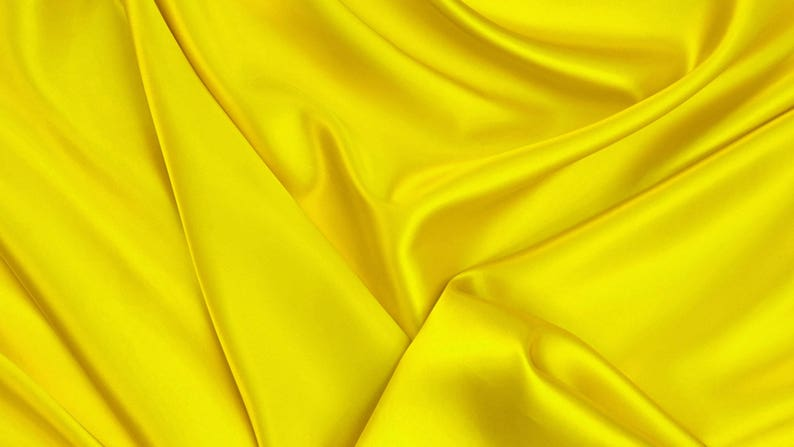 Golden Yellow Silky Satin Fabric Material For Dress Making Venue Decorating