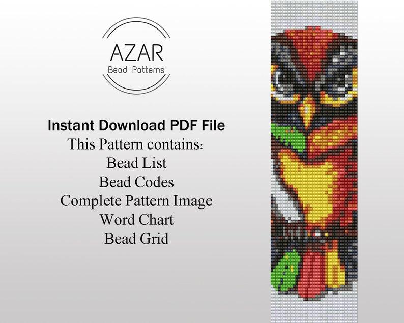 Animal Face Pattern Cuff Bracelet Colorful Animal Bracelet Owl Pendant Pattern Colorful Owl Bead Loom Pattern DIY  Christmas Gift