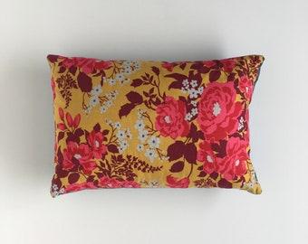 Vintage Handmade Floral Lumbar Pillow 12x18