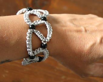 Tatting Pearl Grey crochet bracelet