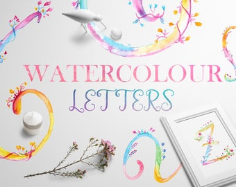 Watercolour Alphabet & Numbers