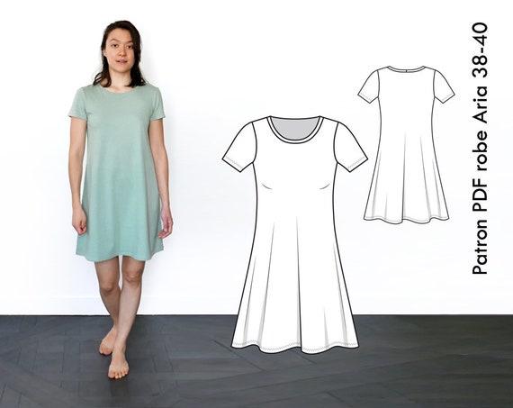 Patron De Couture Robe Tshirt Jersey Aria T38 40 Fr A4 Etsy
