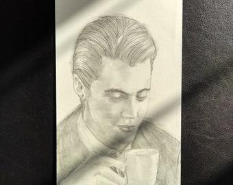 Original pencil portrait - 'Dale Cooper - Twin Peaks'