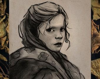 """Art Print 8x6""""  (A5) - """"Katrina Van Tassel"""" The Legend of Sleepy Hollow,  Christina Ricci Charcoal Portrait"""