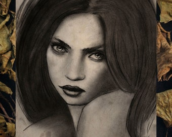 """Art Print 8x6""""  (A5) - """"Bewitch"""" Witch Hex Coven Charcoal Portrait"""