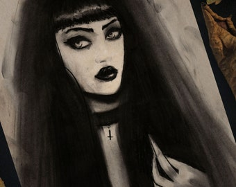 "Art Print 8x6""  (A5) - ""Hex"" Witch Hex Coven Charcoal Portrait"