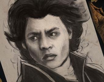 "Art Print 8x6""  (A5) - ""Ichabod Crane"" The Legend of Sleepy Hollow, Johnny Depp Charcoal Portrait"